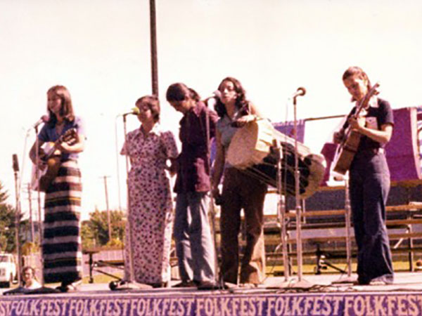 Carmen Rodríguez, second from the left, with Vancouver-based Chilean musical ensemble Cormorán. 1975.