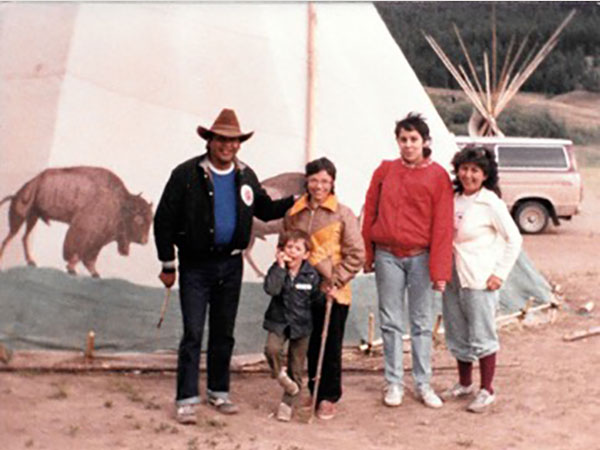 Carmen Rodriguez at a pow-wow in Alkali Lake, BC, 1986
