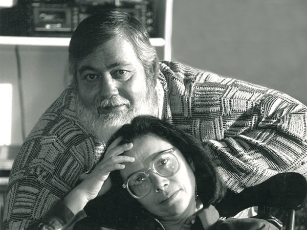 Carmen in Vancouver, with her brother, poet Nelson Rodríguez. October, 1991.