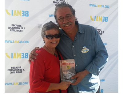 Carmen Rodriguez with Edward James Olmos at the Latino Book and Family Festival, October 13, 2012, California State University, Dominguez Hills, Los Angeles, California.