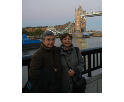 Carmen Rodriguez with Gloria Miqueles in London. Gloria was one of the organizers of Carmen's presentation in that city.